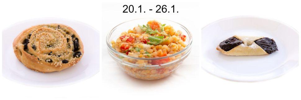 Zapečený šnek s olivami a sýrem & Salát z červené čočky s rajčaty & Šáteček s povidly