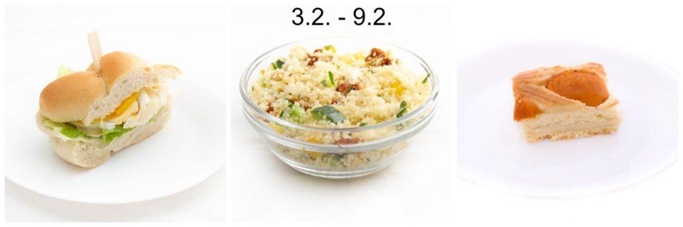 Svačinka se hermelínem a vejci & Kuskus se zeleninou a sýrem & Mřížkový koláč s tvarohem a ovocem