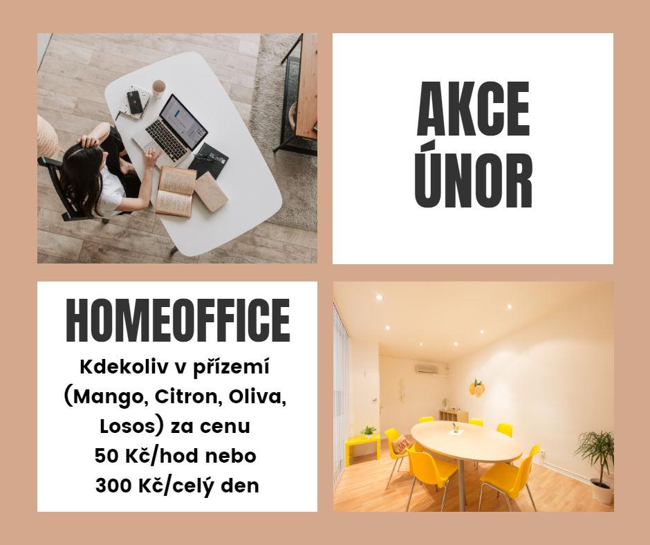 V ÚNORU: Homeoffice kdekoliv vpřízemí za50 Kč/hod. nebo 300 Kč/den (9 - 17.00 hod.). Při rezervaci uveďte dopoznámky HOMEOFFICE.